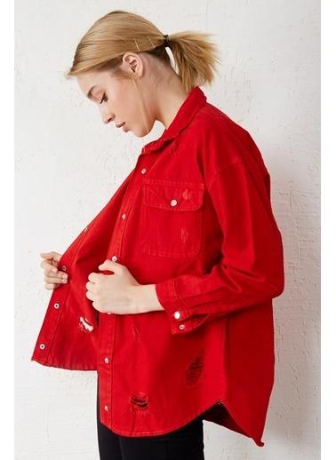 EKA Eskitmeli Çıtçıtlı Kot Ceket Kırmızı